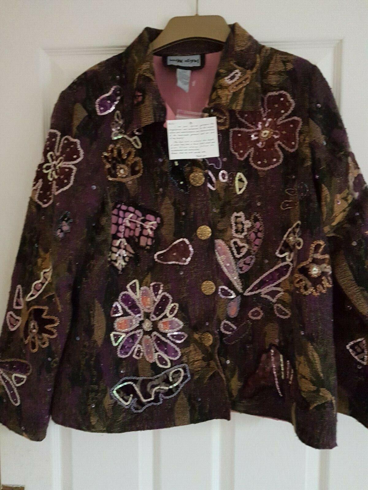 Indigo Moon Jacket - Size L Purple Tapestry Beaded flowers - STUNNING - Bust 46