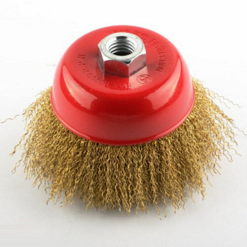"""New 4/"""" x 5//8/"""" Arbor FINE Crimped Wire Cup Wheel Brush For Angle Grinders"""