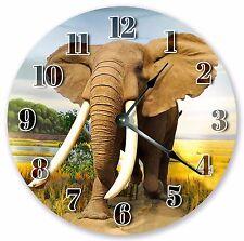 "10.5"" ELEPHANT'S BIG TUSK CLOCK - Large 10.5"" Wall Clock Home Décor Clock - 3144"