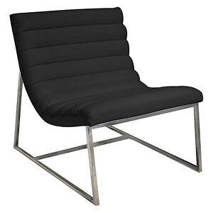Modern Design Stainless Steel Caviar Black Leather Sofa