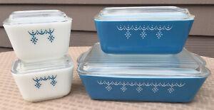 Pyrex Vintage Snowflake Blue White Refridgerator Stackables