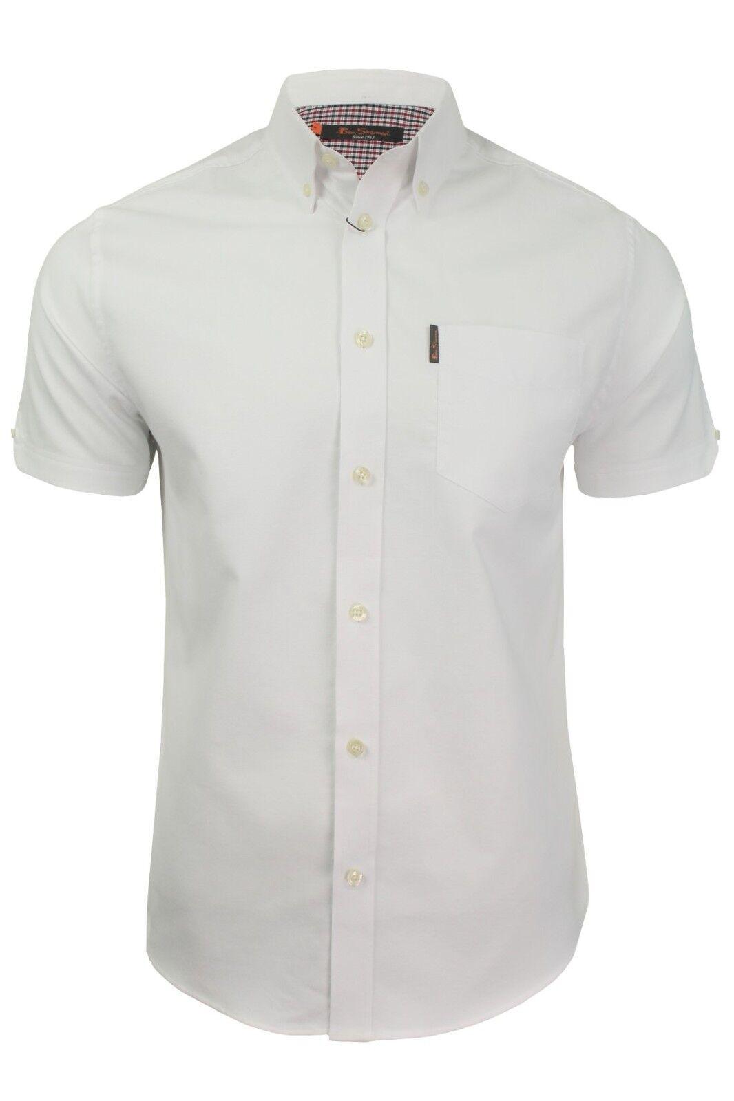 Mens Ben Sherman Classic Cotton Short Sleeve Oxford Shirt 48580 - White