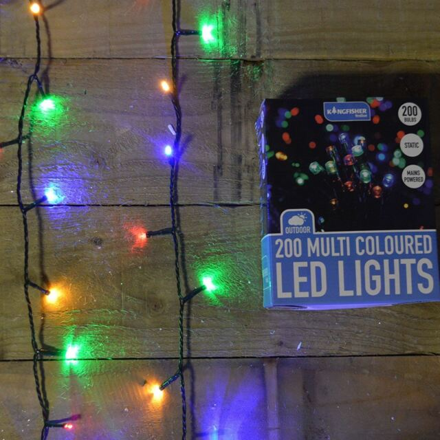 200 LED (14m) Static Outdoor Christmas Tree Lights on Green Wire Multi  Coloured - 200 Multi Coloured Static LED Christmas Lights - Outdoor Or Indoor