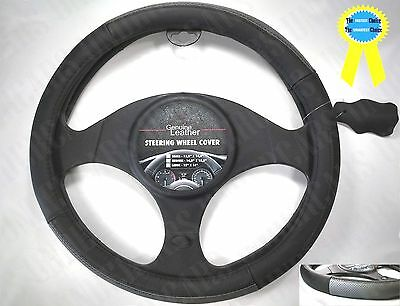 New Leather Black Gray Steering Wheel Cover Luxury