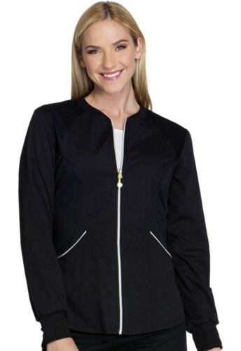 Black Cherokee Scrubs Luxe Sport Zip Front Warm Up Jacket CK300 BLKV