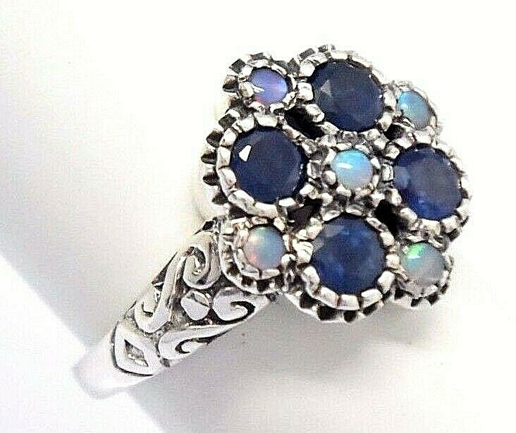 Saphir Ring Saphire & Opale 925 Sterling silver ANTIK STYLE
