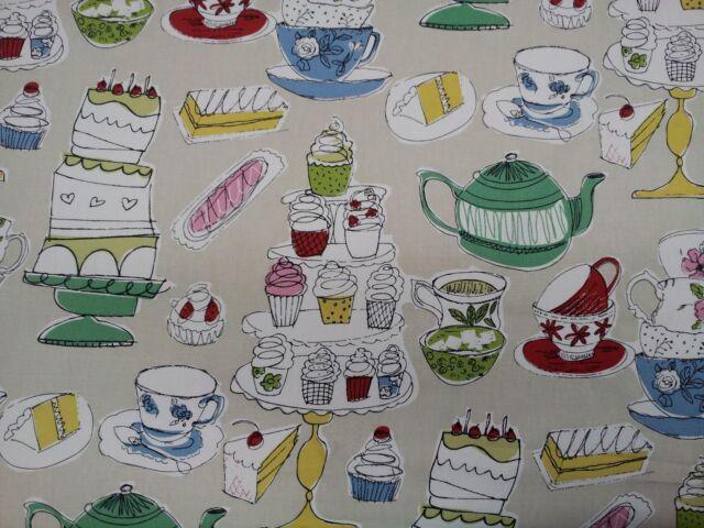 Prestigious Afternoon Tea Linen Teapot Cups Cakes Design Fabric