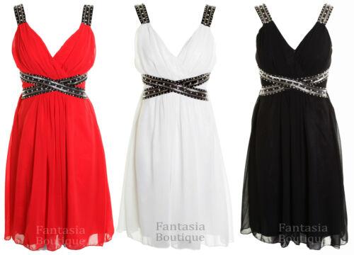 Ladies Sleeveless Pleated Trim Detail Sequin Chiffon Party Women/'s Dress 8-14