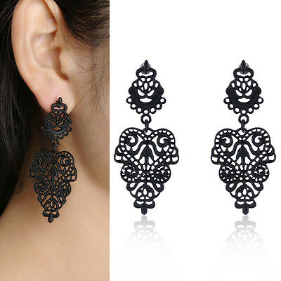 Retro Vintage Alloy Women Black Flower Plated Bohemian Pierced Dangle Earrings