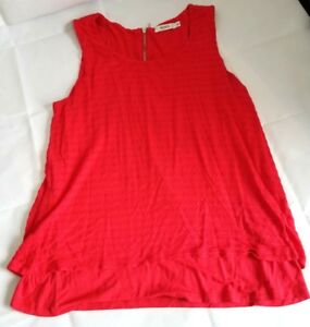 Ricki-039-s-Double-Layer-Top-Red-Coral-Size-Medium-Sleeveless-Loose-Fit