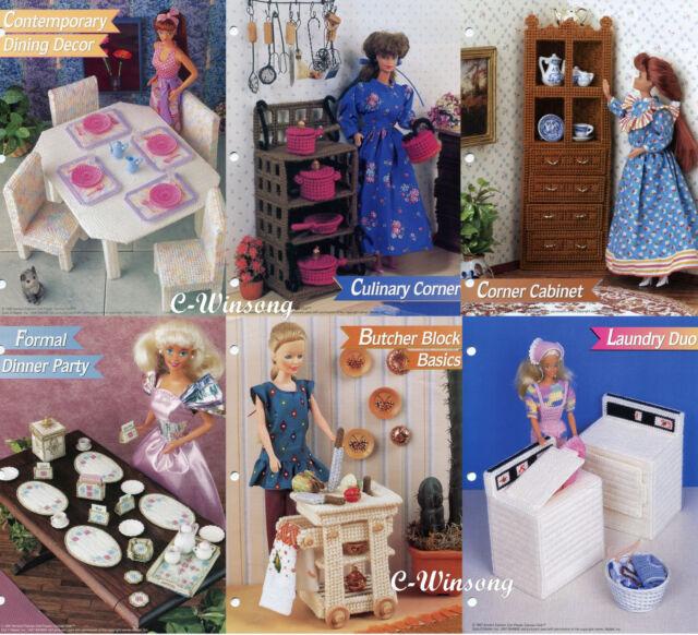 Formal Dinner Party ~ fits Barbie dolls Annie/'s plastic canvas pattern leaflet