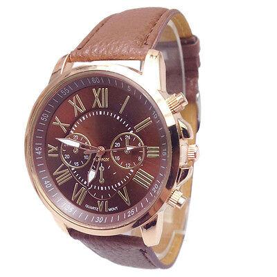 Faux Leather Womens Reloj Dress Watch Roman Numerals Analog Quartz Wrist Reloj