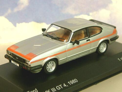 WHITEBOX MODELS DIECAST 1//43 1980 FORD CAPRI MK3 MKIII GT4 GT 4 SILVER//RED WB163