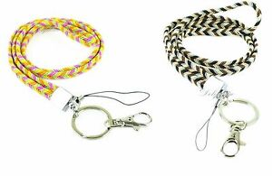 Chevron-Rainbow-Braided-Necklace-Lanyard-with-Key-chain-for-ID-Badge-holder