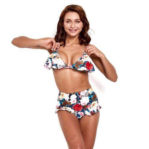 Femme Natation taille haute Bikini Maillots de bain femmes sans fil Rembourré Soutien-gorge Costume nouveau