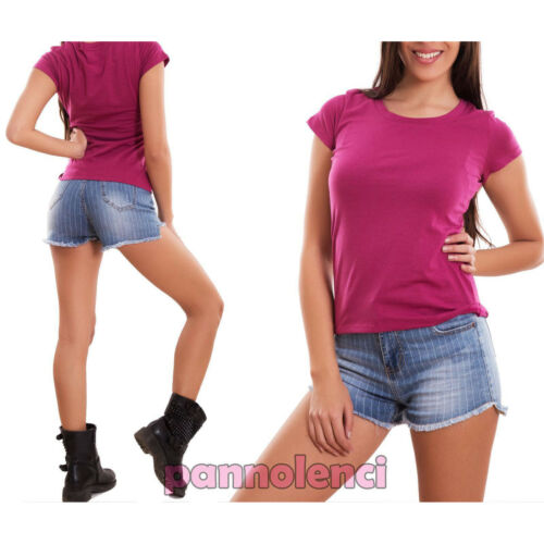 Maglia donna maglietta t-shirt maniche corte girocollo casual basic nuova 5001
