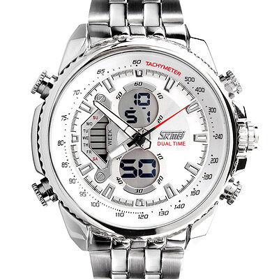 Herren LED Edelstahl Analog & Digital Sport Datum Armbanduhr wasserdicht Uhr