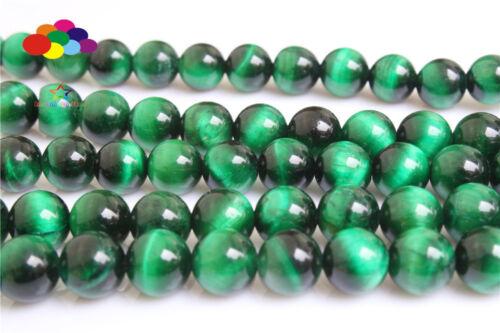Diy 4//6//8//10//12mm Natural Stone Green Tiger/'s Eye Round Beads fit bracelet
