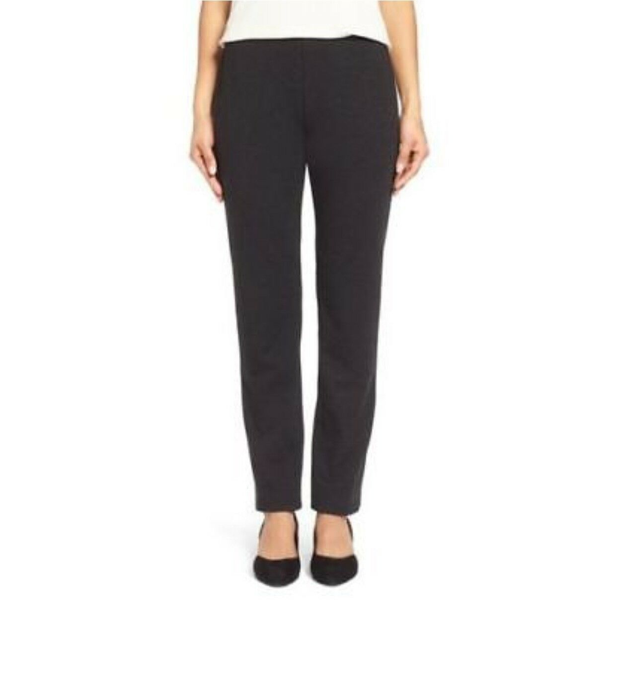Eileen Fisher Charcoal Melange Viscose Stretch Ponte Slim Pant Size LRG NWT