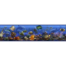 SEA WALL BORDER Room Decor Stickers Ocean Fish Dolphin Wallpaper Decals Blue