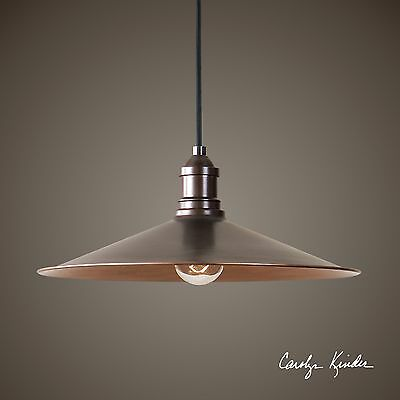"NEW 14"" RICH ANTIQUE COPPER FINISH PENDANT LIGHT CEILING CHANDELIER INDUSTRIAL"