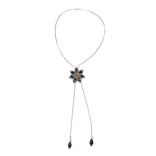 Women Elegant Snowflake Pendant Necklace Long Tassel Sweater Chain Gift Y2