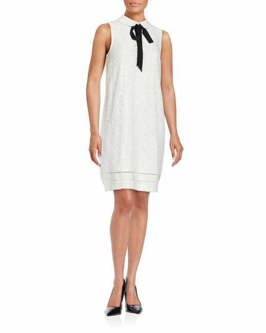 Karl Lagerfeld Paris Ivy White Sleeveless Lace Emboidered Dress NWT   MSRP 158
