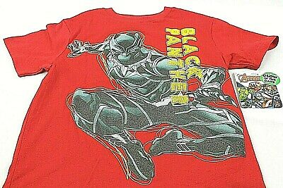 Red Glow in the Dark Short Sleeve BOYS T-Shirt Marvel-Black Panther
