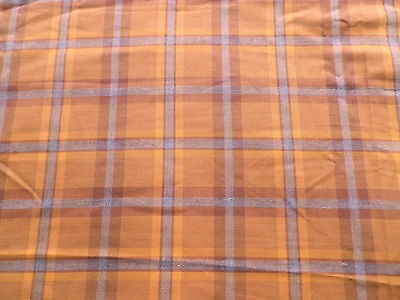 Retro Tan Grey Tartan Check Cotton Mix Dress Skirt Fabric Bay City Rollers