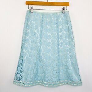 Andrea-Crawford-Womens-Straight-Skirt-Lace-Silk-Blend-Blue-Size-8