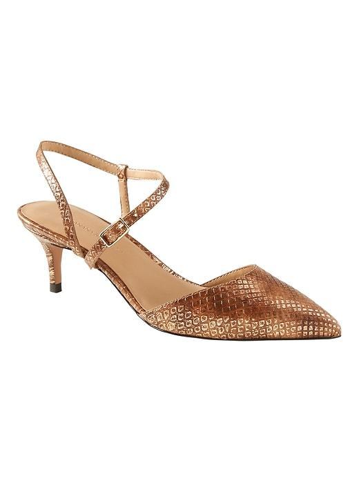 Banana Republic Sz Asymmetrical Strap Kitten Heel Sz Republic 6.5 Metallic Snake Effect Leat 949aed