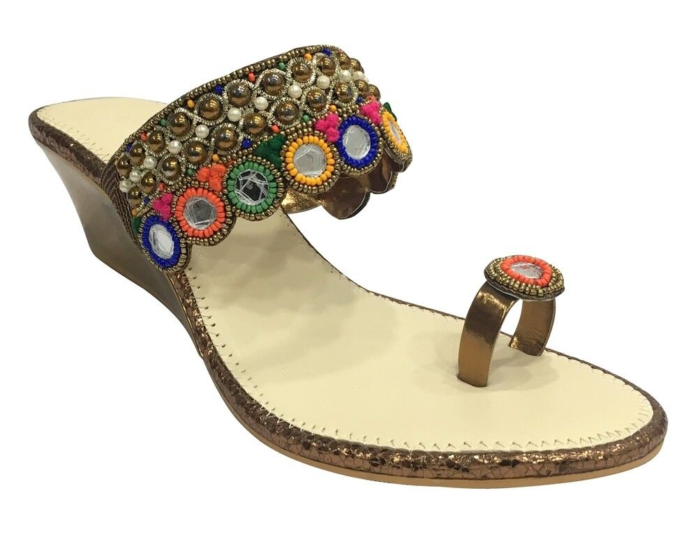 UK BEADED SANDALS ETHNIC SHOES HANDMADE SHOES INDIAN SLIPPERS WEDGE SLIPON SS151