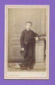 Photo-CDV-1870-HERBERT-BEAUVAIS-Enfant-Garcon-en-uniforme-de-collegien-A167