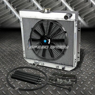 "3-ROW ALUMINUM RADIATOR+1X 14/""FAN+OIL COOLER BLACK FOR PINTO//COMET//COUGAR V8"