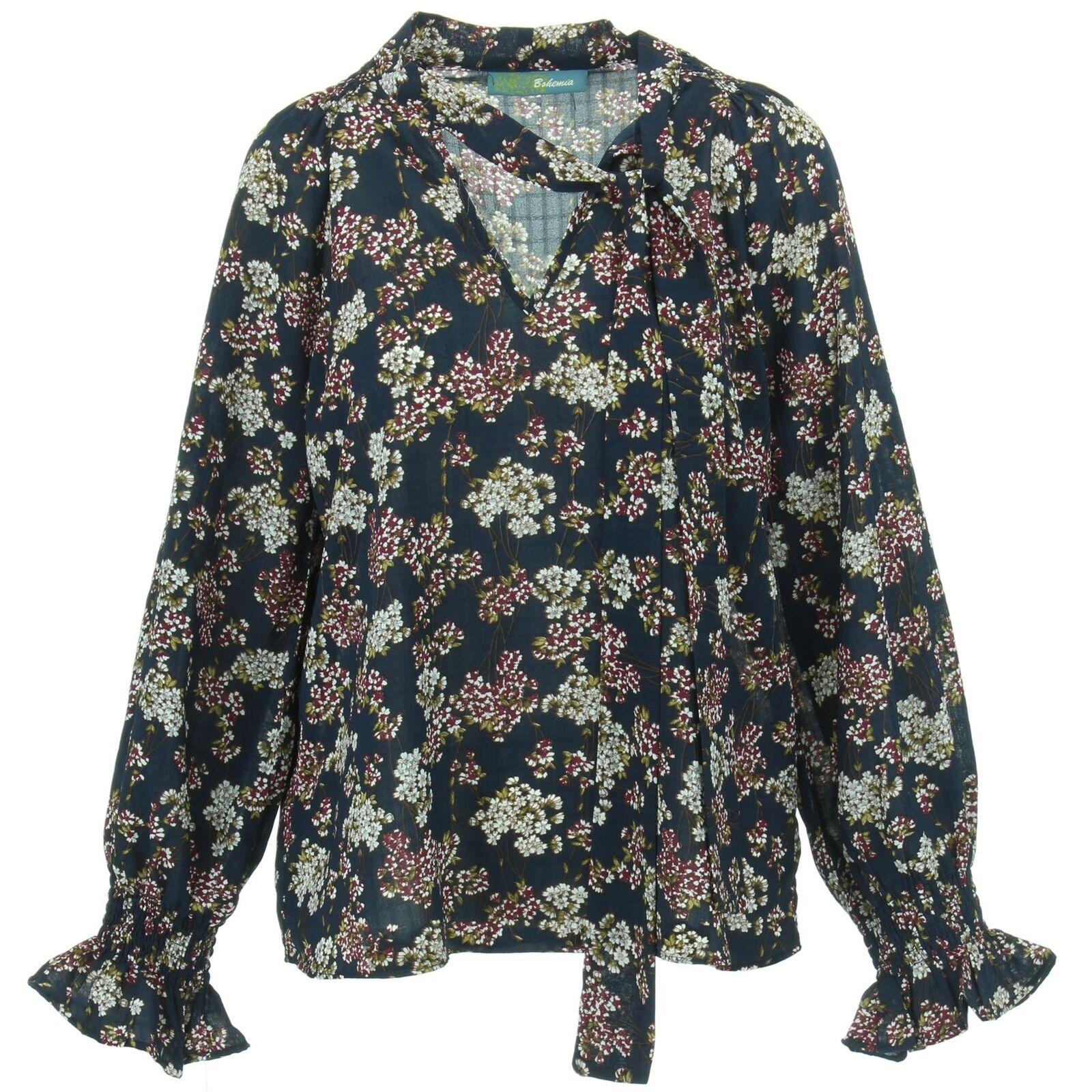 Shirt Blouse Floral V Neck Tie Ruffled Cuffs BOHEMIA damen Ladies