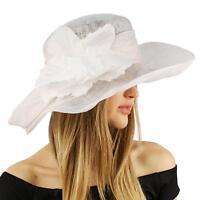 Fancy Sinamay Kentucky Derby Flip Side 5 Floppy Flower Feather Church Hat White
