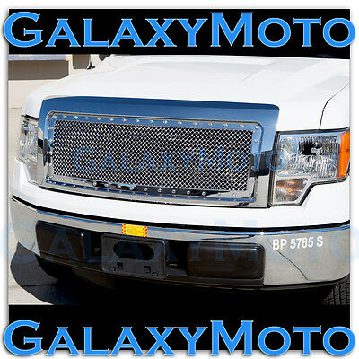 09-14 Ford F150 Upper+Bumper Chrome Billet Grille+Complete Replacement Shell