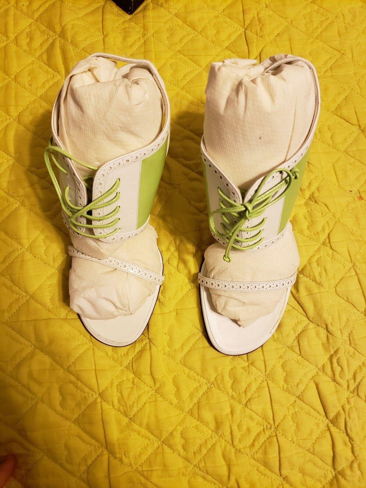 Ralph Ralph Ralph Lauren Collection Heels Elma Green w  White Baby Calf size 8 B  ad3379
