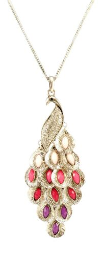 """Beautiful New 30/"""" Curb Chain Peacock Pendant Necklace with Crystals #N2472"""