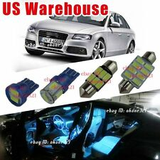 7-pc Aqua Blue LED Light Interior Package Lamp Dome Kit For Audi A4 or S4 B8