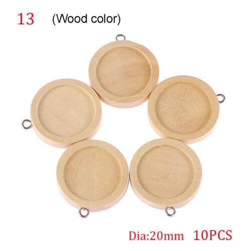 10pcs en bois creux Cadre Collier Pédalier base Care lunette cabochon plateau
