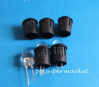 50pcs 10mm Black Plastic LED Clip Holder Case Cup Mounting USA Free Shipping