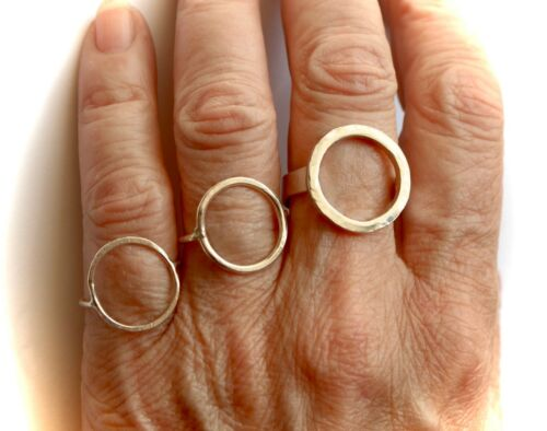 OVAL CIRCLE RING STERLING SILVER BOHO CHIC HAND MADE ANY SIZE LONDON 1.5mm