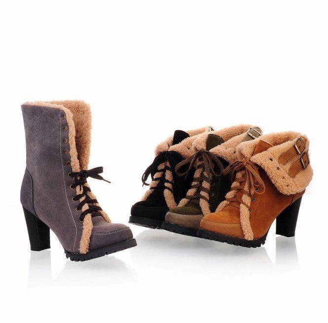 Botines botas Zapatos de Tacón Mujer 8cm Piel Sintético Cómodo Caldi 9047