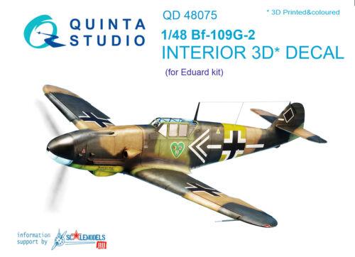 Quinta studio/'s QD48075 1//48 Bf-109G-2 Interior 3D decal for Eduard kit