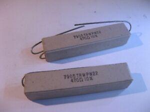 TRW-PW22-Ceramic-Cement-470-Ohm-470R-10-22W-Resistors-High-Power-NOS-Qty-2