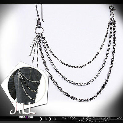 punk visual heavy rock K-pop layered silver alloy trousers chain J1S6018