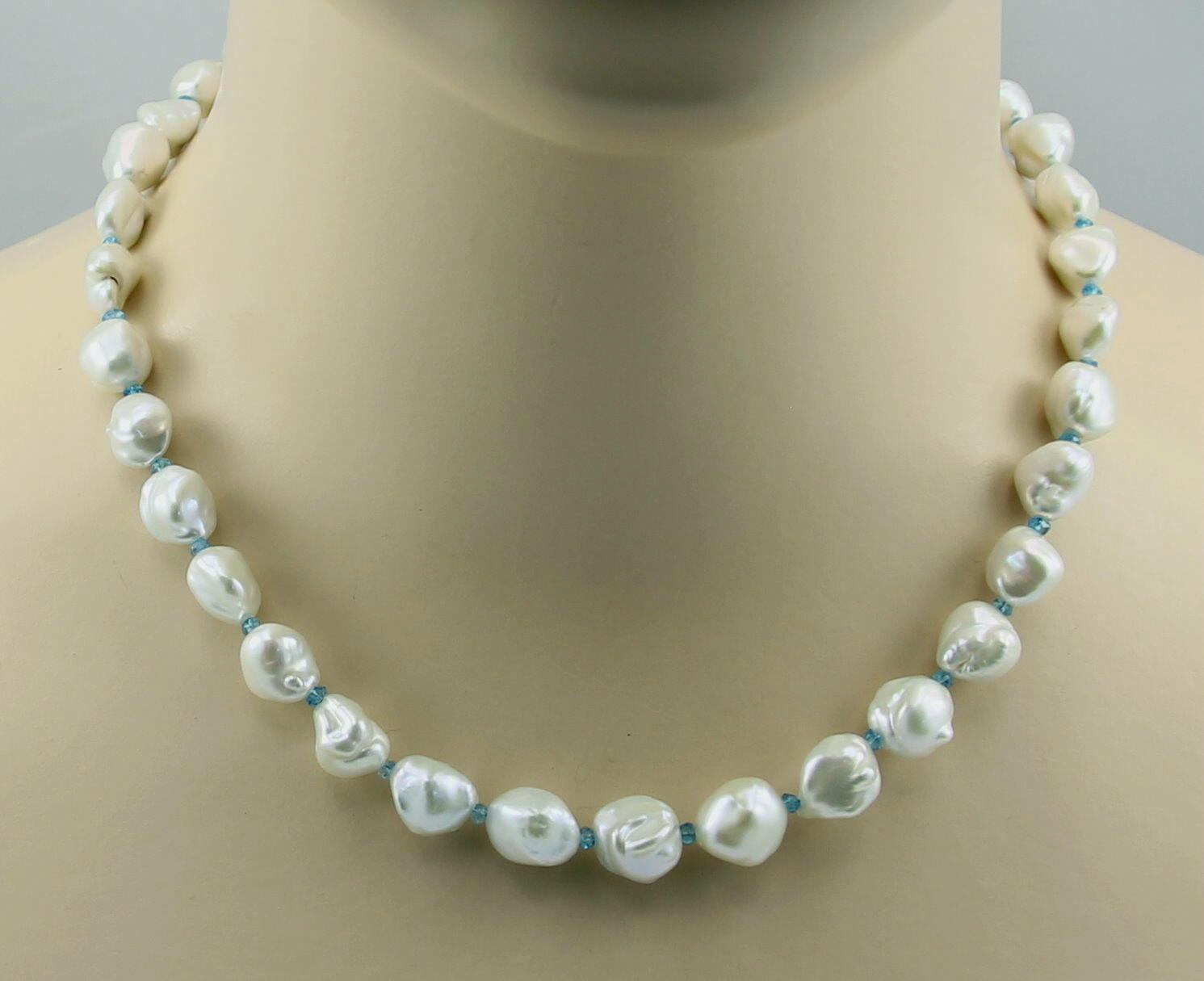 Perlenkette - whitee Keshi Zuchtperlen mit Apatit Halskette - 46 cm lang