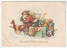 Ak Weihnachtsmann mit Schlitten Kinder & Geschenke W.Krause um 1950 DDR Xmas!