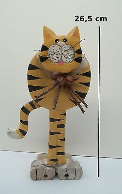 Chat En Bois, Cale Porte,collection,décoration ,cat, Kat, Poes 26,5 Cm *brun